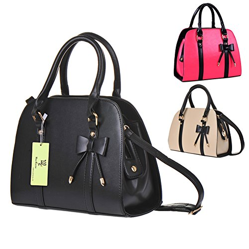- 51c 2B2c8SNxL - Hot Womens Vintage Messenger Handbag Shoulder Bag Tote with Bow (Black-A)