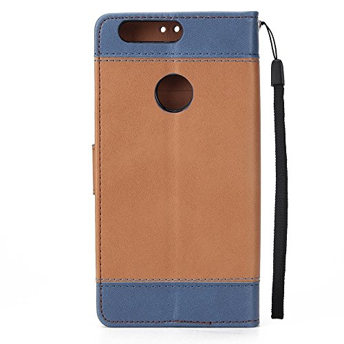 Dual Color Matching Premium PU Leder Flip Stand Case Cover mit Card Cash Slots und Lanyard für Huawei P9 Lite ( Color : Brown ) Brown