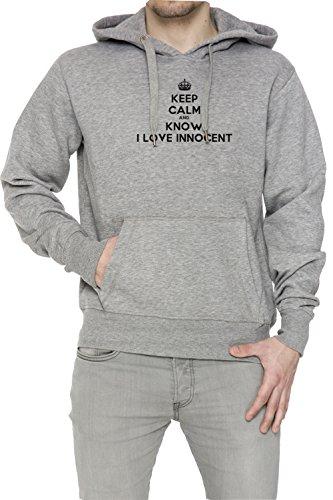 Keep Calm And Know I Love Innocent Uomo Grigio Felpa Felpa Con Cappuccio Pullover Grey Men's Sweatshirt Pullover Hoodie