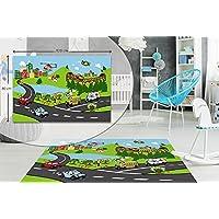 TRAFFIC VEHICLES KIDS BEDROOM FLOOR RUG BOYS SOFT PLAY MATS CARPETS NON-SLIP WASHABLE 80 x 120 cm