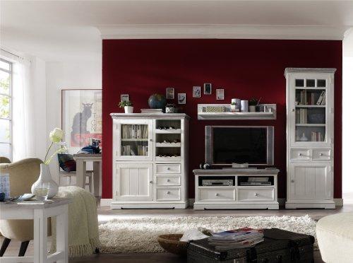 Dreams4Home Wohnwand massiv ' Juno ', in antik weiß , Wohnzimmer, Kommode,TV-Schrank,Fernsehschrank, Massivholz -
