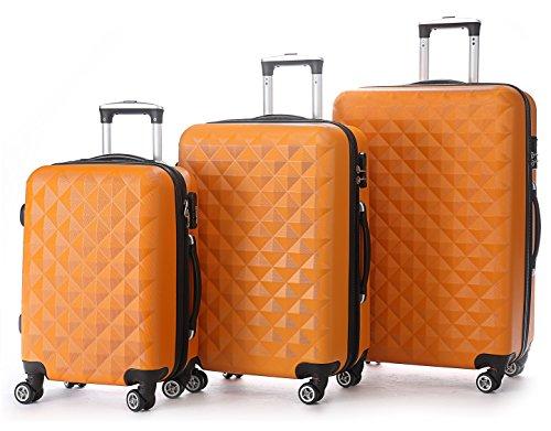 BEIBYE Trolley Koffer Reisekoffer Reisekofferset Gepäckset Kofferset 4 Zwillingsrollen Hartschale (Orangen)