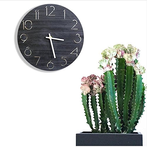 Shuangklei Runder Hölzerner Großer Dekorativer Wand-Digitaluhr-Moderner Entwurf, Der An Der Wand-Küchen-Uhr Horloge Hängt