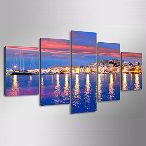Multi-panel-rahmen (w15Y8 Leinwandbild von New York Skyline für Ihr Wohnzimmer - New York Cityscape Print - Home Decorating 5 Stück Urban Canvas - Multi Panel + Rahmen E 40x60 40x80 40x100cm)
