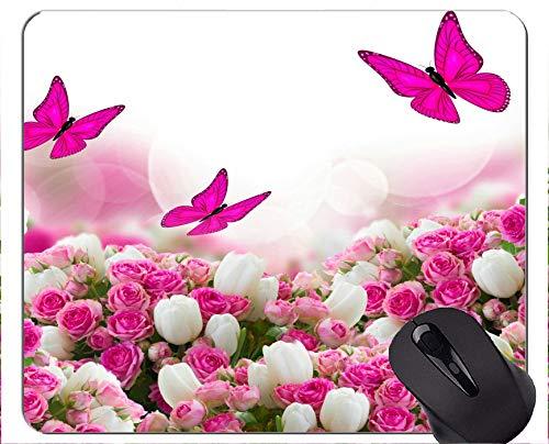 Gaming Mouse Pad Benutzerdefinierte, weiße Blume Rose Art Flower Butterfly - genähte Kanten