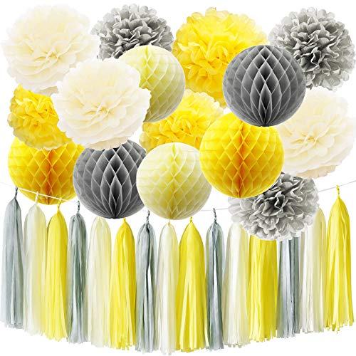 HappyField Sie sind mein Sonnenschein Party Dekoration gelb grau Elefant Baby Dusche Dekorationen Seidenpapier Pom Pom Wabenbälle für Bridal Shower Geburtstag Dekorationen
