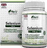 Selen 200 mcg | L-Selenomethionin | 240 Kapseln (Vorrat für 8 Monate) | Hochdosiertes Selen | Frei von Allergenen und für Vegetarier und Veganer Geeignet