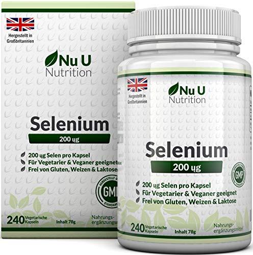 Selen 200 mcg - L-Selenomethionin - 240 Kapseln (Vorrat für 8 Monate) - Hochdosiertes Selen - Frei von Allergenen und für Vegetarier und Veganer Geeignet