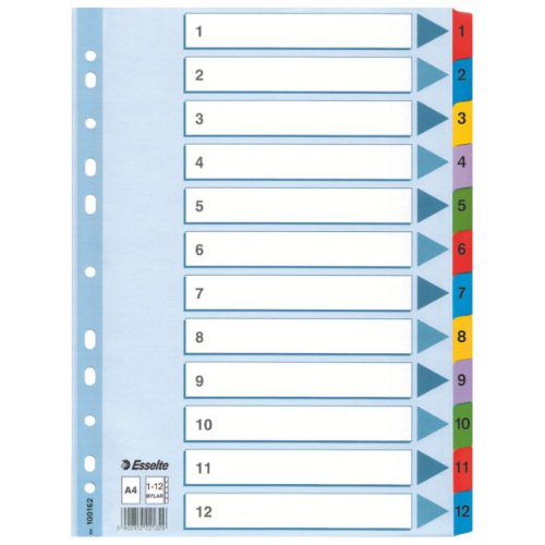 Esselte Intercalaires, Onglets 1-12, A4, Carton, Onglets Renforc
