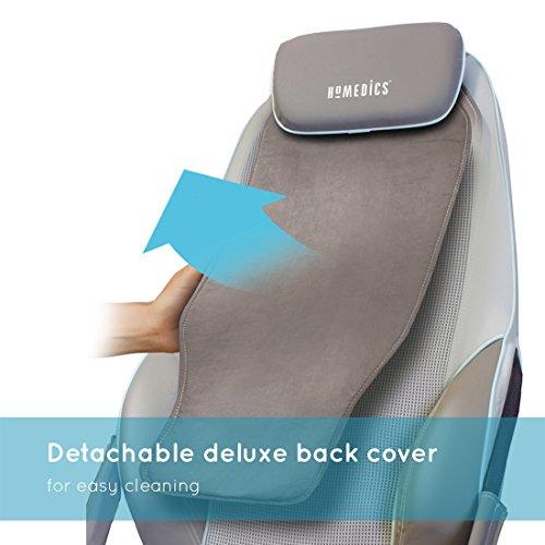HoMedics Appareil de massage shiatsu pour le dos et les épaules - Fauteuil de massage réglable, tension 3 réglages de zone, Tout, Muscles du haut et du bas du dos, Vibration, Chaleur apaisante - Noir
