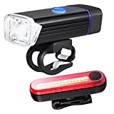 KANGLE Bike Light, USB wiederaufladbares Bike Light Set, Mountainbike Lights, Cycle Lights, LED Bicycle Lights Rechargeable, Quick Release Front Light Headlight und Taillight