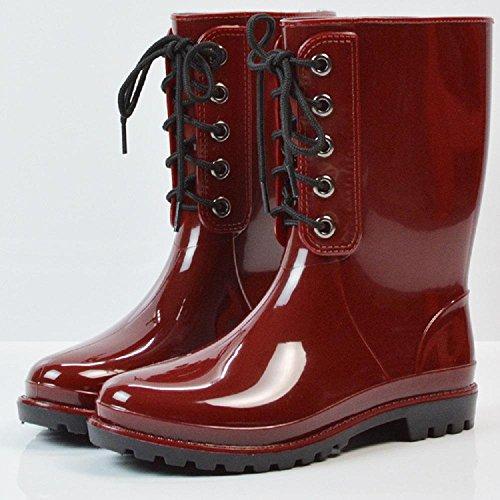 Mode Freizeit Metall Verband Regen Stiefel Frauen Anti-Slip Stiefel Rain Gear , red , 39 (Hunter Frauen Kurze Regen Stiefel)