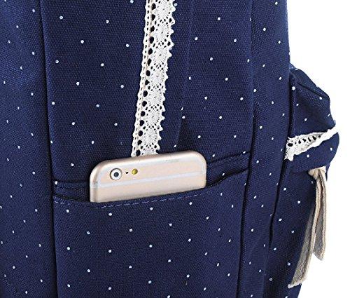 G2Plus Leichte Schulrucksack mit Polka Dots Nette Canvas Schultaschen Damen Mädchen EXTRA Groß Kinderrucksack Daypacks Rucksäcke Modische mit Laptop Fach 28 * 42 * 13 cm – Little Princess (Blau 1) - 3
