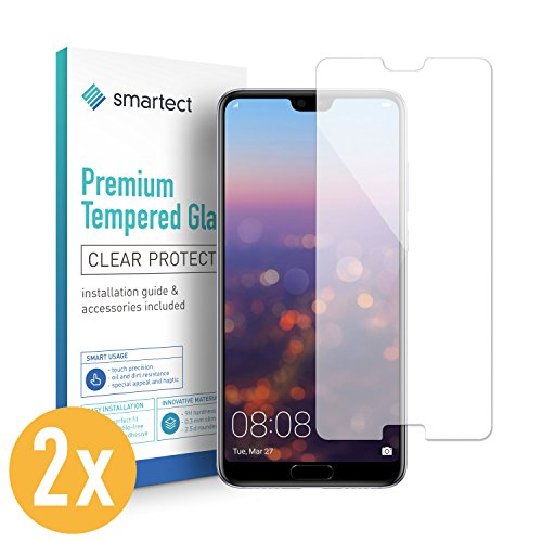 Smar tect Huawei P20Pro Cristal–Protector de Pantalla con dureza 9H–Protector de Pantalla sin Burbujas–Tanque Antihuellas Pantalla Cristal [2Unidades]