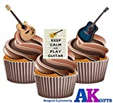 Keep Calm and Play Guitare gâteau décorations ? 12 décorations comestibles cup cake