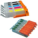 Set of 5 Empty refillable edible ink cartridges PGI-550, CLI-551 for use on Canon printer models IP7250, MG5450, MG5550 by CleanPrint