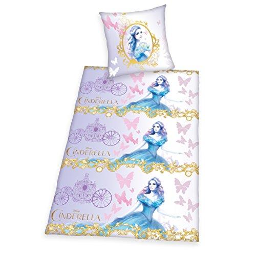 ttwäsche Disney's Cinderella, Kopfkissenbezug 80 x 80 cm mit Bettbezug 135 x 200 cm, 100% Baumwolle, Flanell/Biber (Dornröschen Aurora Tiara)