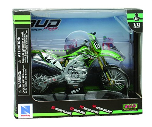 New Ray 57773 1:12 Dirt Bike Bud Racing Kawasaki KX450F