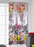 140x245 bunt New York Vorhang Vorhänge Ösenschal Fensterdekoration Gardine Blickdicht USA Manhattan Pop Art Empire