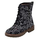 Mymyguoe Frauen Gedruckt Chelsea Boots Nationalen Stil Drucken Platz Ferse Schnürstiefel Schnee Stiefel Runde Zehenschuhe Halbschaft Freizeitschuhe Lace Up Stiefeletten PU Leder Stiefel