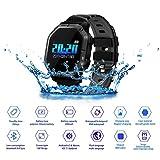 JASZHAO IP68 Wasserdichte Bluetooth Smart Watch, Multiple Sports Modes/Running/Cycling/Schwimmen/Fitness/Herzfrequenz-Monitore/Für Android IOS,B