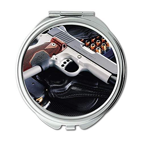 Yanteng Spiegel, Reisespiegel, Pistolensafe, runder Spiegel, Pistole, Taschenspiegel, tragbarer Spiegel