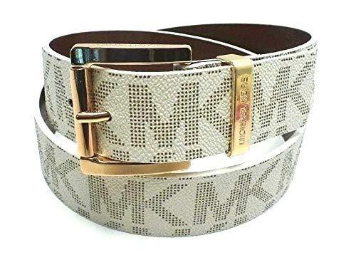 Michael Kors Gürtel weiß Größe L 105cm lang, 4cm breit, MK Logo auf Gürtel und eingraviert in goldene Schnalle, Damengürtel 0427