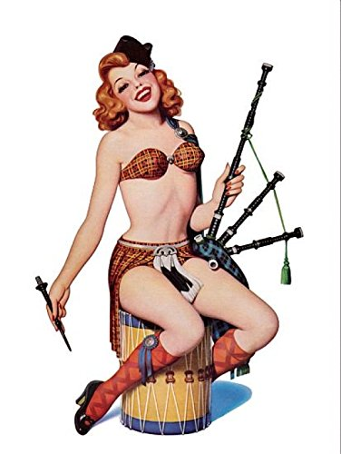 Up Redhead with Scottish Outfit Kunstdruck (60,96 x 91,44 cm) ()