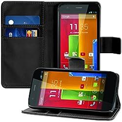kwmobile Funda para Motorola Moto G (2013) - Wallet Case plegable de cuero sintético - Cover con tapa tarjetero y soporte en negro