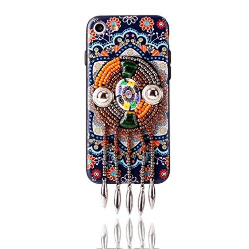 Cover per iPhone 7, Tpulling Custodia per iPhone 7 Case Cover Copertura esotica della borsa del telefono delle perle di boutique per il iPhone 7 4.7 pollici (B) C