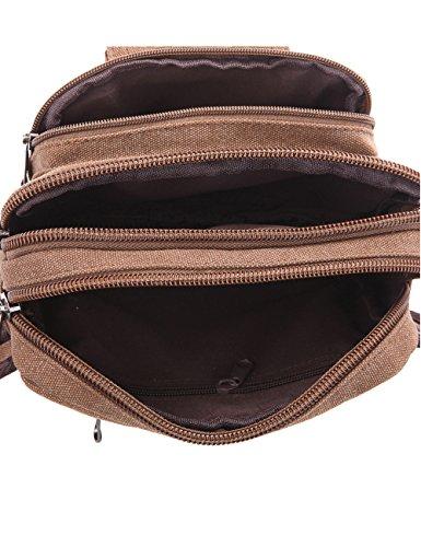 Menschwear Vintage Leinwand Gürteltasche Outdoor Sport Hüfttasche Doggy Tasche Sportstasche Gürtellinie Waist Tasche Hip Pack für Wandern Laufen Radfahren Camping Reise Klettern Kaffee Brwon