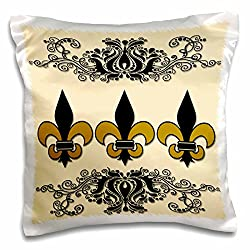 3dRose Fleur De Lis. French Decor. Beige & black. - pillow Case, 16 by 16-Inch (pc_220659_1)
