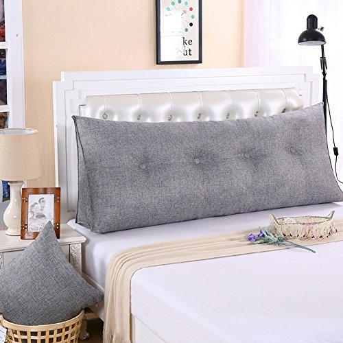 VERCART Kissen Rückenkissen Lesen Nackenrolle Wedge Pillow Hals für Sofa Bett Rückenlehne Baumwolle und Leinen Grau 120CM