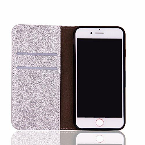 Cover pour iPhone 8Plus, CLTPY iPhone 7Plus Mignon Paillette Flash Diamond Motif Style Design avec Magnetique et Fente de Carte Full Body Wrap Back Cover Case Couvrir pour Apple iPhone 7Plus/8Plus + 1 Argent 1