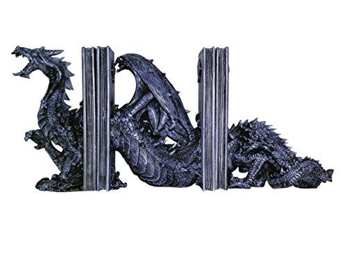 3 teilige Drachen Buchstütze - Drache Dragon Gothik - Drachen Buchstützen