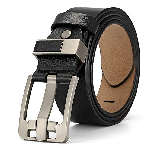 Herren Casual Gürtel Echtes Leder für Jeans Kleid Schwarzer Brauner Gürtel Brille (Farbe : Schwarz, Größe : Free Size)