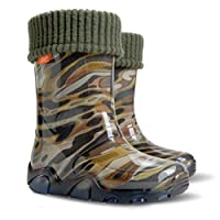 Childrens Wellington Boots Wellies Rainy Shoes Kids All UK Sizes - Camo Green (UK 3-4 (EU 20-21) Baby)
