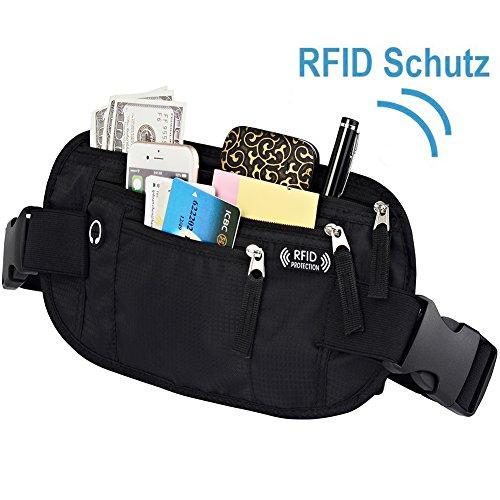 Flache Bauchtasche Hüfttasche mit RFID Blocker, Boonor Reise Geldgürtel Money Belt Gürteltasche mit 3 großen Taschen enganliegend, wasserabweisend Geldgürtel zum Sport Joggen Reisen