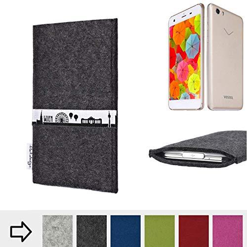 flat.design für Vestel V3 5570 Schutztasche Handy Hülle Skyline mit Webband Wien - Maßanfertigung der Schutzhülle Handy Tasche aus 100% Wollfilz (anthrazit) für Vestel V3 5570