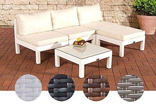 CLP Polyrattan-Sitzgruppe Fiji Inklusive Polsterauflagen | Garten-Set Bestehend aus Einem Beistelltisch, Einem 3er-Sofa und Einem Hocker | in Verschiedenen Farben erhältlich Weiß