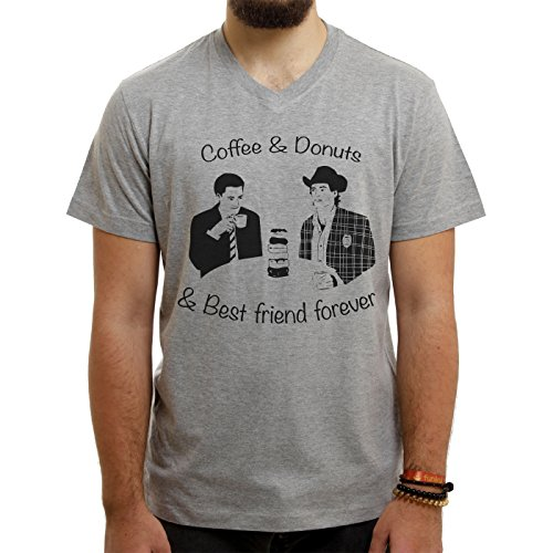 Twin Peaks TV Show Series Dale Cooper Drinking Coffee Donuts Best Friends Forever Quote Small Uomini V-Neck