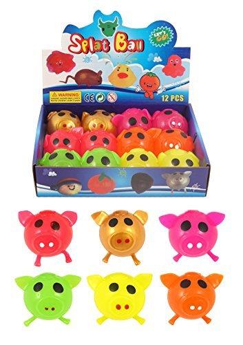 Preisvergleich Produktbild 12 x Splat Ball Klebend Schwein 7cm