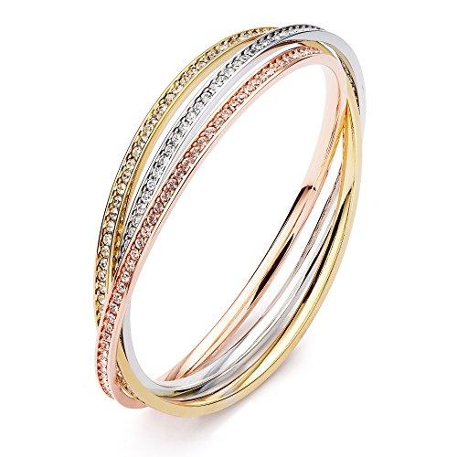 Tri-Trinity MYJS placcato in oro con cristalli, bracciali intrecciati Eternity