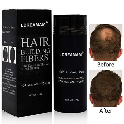 Hair Fiber,Fibre dei Capelli,Fibre Costruzione dei Capelli,Il rimedio contro la caduta dei capelli e la calvizie - look naturale- per coprire i capelli diradati per uomo e donna,Nero