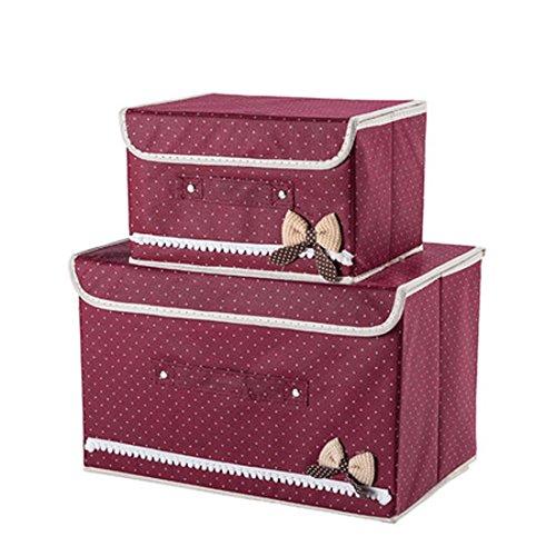 Faltbare Vorratsdosen mit Deckel, Aufbewahrung Cube Korb Set 2, groß Aufbewahrung canbinet Polka Dot-wine Red (Schubladen Kunststoff-speicher-cubes)