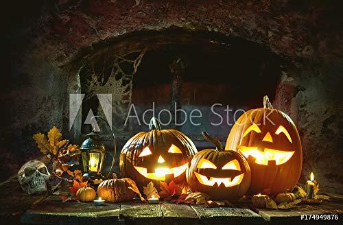 druck-shop24 Wunschmotiv: Candle lit Halloween Pumpkins #174949876 - Bild auf Alu-Dibond - 3:2-60 x 40 cm / 40 x 60 cm (Der Große Halloween-alexander)