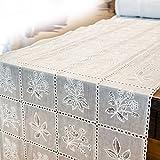 ANRO Tischläufer Tischband Häkel Spitze Optik Vinyl/PVC Landhaus Weiß 100 x 40cm