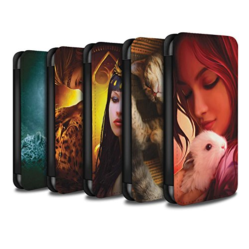 Officiel Elena Dudina Coque/Etui/Housse Cuir PU Case/Cover pour Apple iPhone X/10 / Oui Maman/Lion/Petit Design / Les Animaux Collection Pack 16pcs