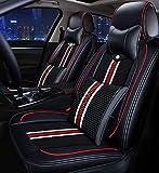 Coprisedili Set universale Fit Sport Style Cuoio/Ghiaccio Seta Super traspirante - Cuscini seduta regolabili per Audi Buick Ford VW e 99% Altri tipi di 5 posti auto,Black