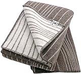 Roros Tweed: Creme-braune Doubleface Wolldecke'Baumlinien' 100% Schurwolle 130 cm x 200 cm, ca 1400g